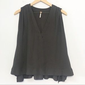 Free People sleeveless flowy black blouse S